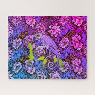 Lila Chamäleon in einem lila Garten Puzzle