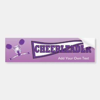 Lila Cheerleader-Mädchen-Silhouette Autoaufkleber