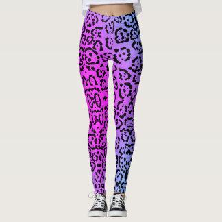 Lila Cheetah-Neonkatzen-Tierdruck Leggings