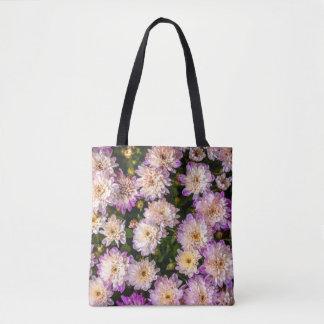 Lila Chrysantheme ganz über Muster-Tasche Tasche