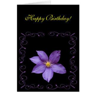 Lila Clematis, alles Gute zum Geburtstag! Karte