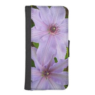 Lila Clematis-Blumen iphone Geldbörsenkasten iPhone SE/5/5s Geldbeutel Hülle