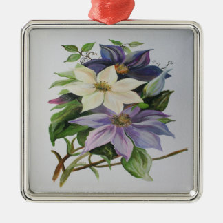 Lila Clematis Quadratisches Silberfarbenes Ornament