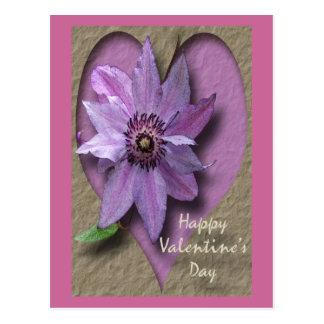 Lila Clematis und Herz Postkarte