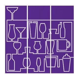 Lila Cocktail-Party Triptychon