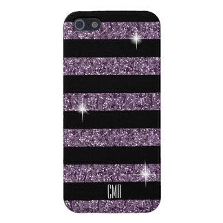 Lila Confetti-Glitter u. Monogramm der iPhone 5 Cover