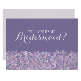 Lila Confetti sind Sie meine Brautjungfer 12,7 X 17,8 Cm Einladungskarte