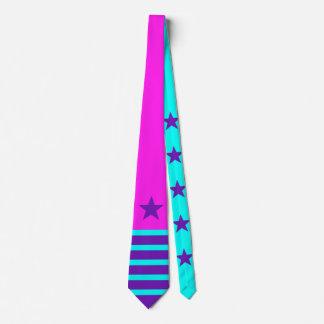 Lila Cyan-blaues der Sterne u. der Streifen + Ihr Bedruckte Krawatten