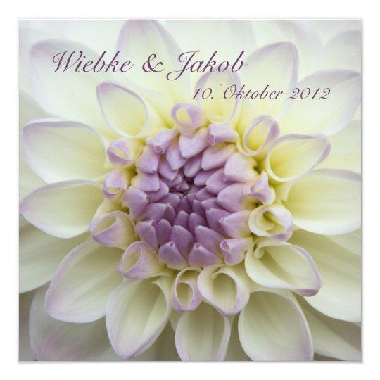 Lila Dahlie • Hochzeits-Einladung Quadratische 13,3 Cm Einladungskarte