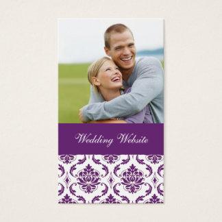 Lila Damast-Foto-Hochzeits-Website-Karte Visitenkarte