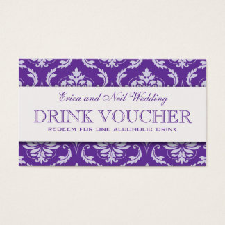 Lila Damast-Hochzeits-Getränk-Beleg für den Visitenkarte