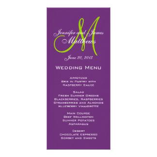 Lila Damast-Monogramm-Hochzeits-Menü-Karten Personalisierte Werbekarte