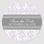 Lila Damast-Save the Date Umschlag Aufkleber