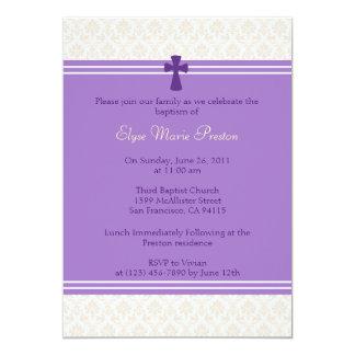 Lila Damast-Taufe/Taufeinladung 12,7 X 17,8 Cm Einladungskarte