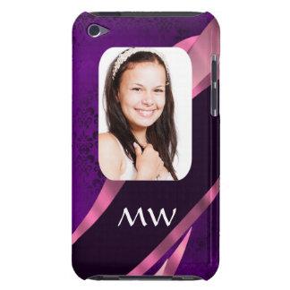 Lila Damast und personalisiertes Foto iPod Case-Mate Hüllen
