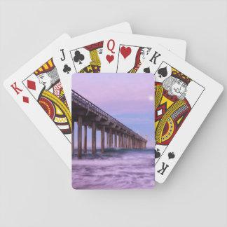 Lila Dämmerung über Pier, Kalifornien Spielkarten