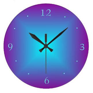 Lila/das belichtete Aqua druckte Entwurfs-Wand-Uhr Große Wanduhr
