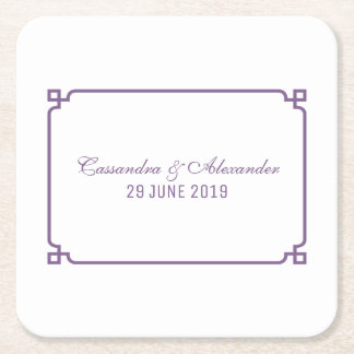 Lila Dekochic-Hochzeit Kartonuntersetzer Quadrat