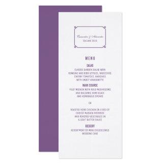 Lila Dekochic-Hochzeits-Menü 10,2 X 23,5 Cm Einladungskarte