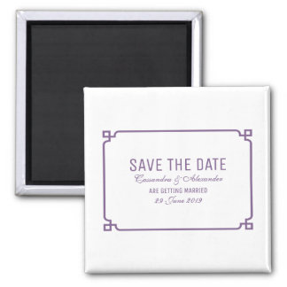 Lila DekoChic Save the Date Quadratischer Magnet