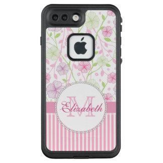 Lila, der Blumen, rosa u. weißer Streifen des LifeProof FRÄ' iPhone 8 Plus/7 Plus Hülle