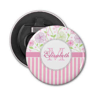 Lila, der Blumen, rosa u. weißer Streifen des Runder Flaschenöffner