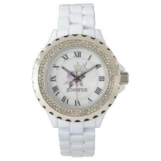Lila der Rhinestone-Email-Uhr Floweer Frauen Armbanduhr