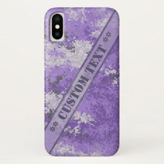 Lila Digi Camouflage mit kundenspezifischem Text iPhone X Hülle