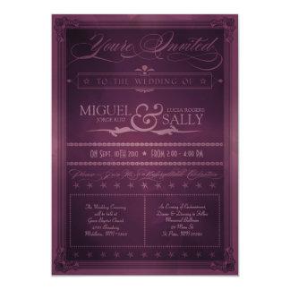 Lila DIY Hochzeits-Einladung der Vintagen 12,7 X 17,8 Cm Einladungskarte
