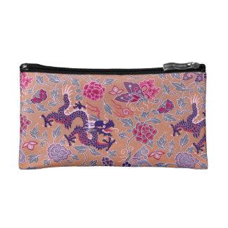 Lila Drachen rosa und lila Blumen-Muster Kosmetiktasche
