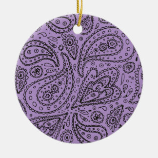 Lila Druck Paisleys Boho Keramik Ornament