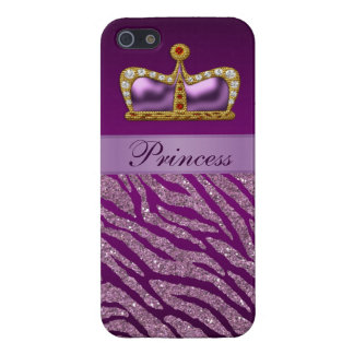 Lila Druck Prinzessin-Crown Faux Glitter Zebra Hülle Fürs iPhone 5