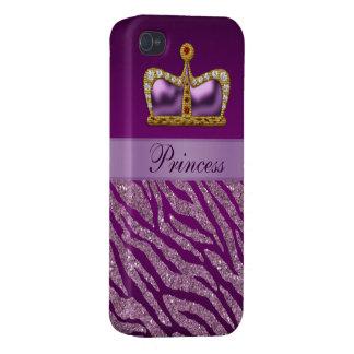 Lila Druck Prinzessin-Crown Faux Glitter Zebra iPhone 4/4S Hüllen