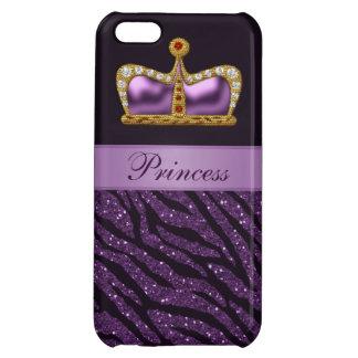 Lila Druckprinzessin Crown u. Zebra-Glitzer Hüllen Für iPhone 5C