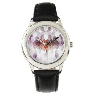Lila Dunst-Würfel-Kunst Armbanduhr