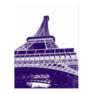 Lila Eiffel-Turm Postkarte