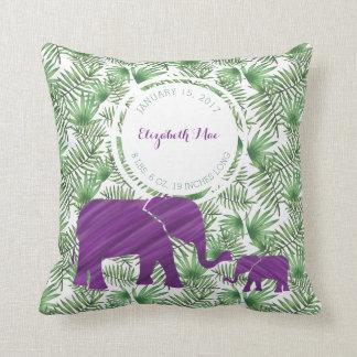 Lila Elefant-Baby-Geburts-Kinderzimmer Kissen