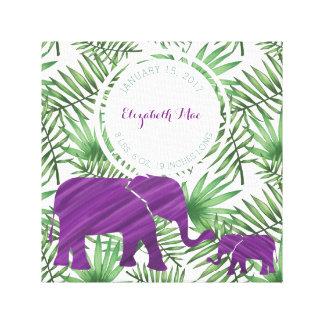 Lila Elefant-Baby-Geburts-Kinderzimmer Leinwanddruck