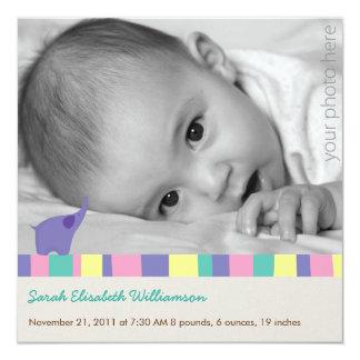 Lila Elefant-Geburts-Mitteilung Quadratische 13,3 Cm Einladungskarte