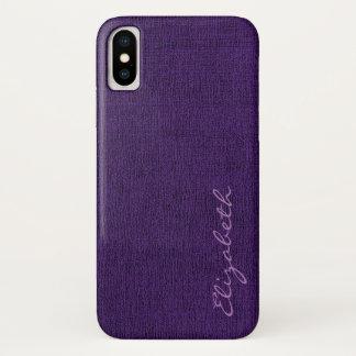 Lila eleganter Leinwand-Blick iPhone X Hülle