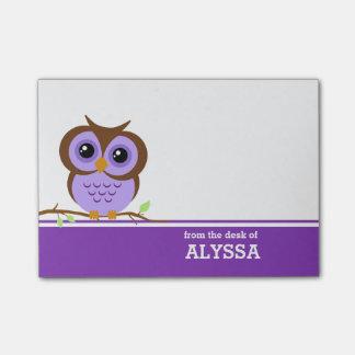 Lila Eule personalisiert Post-it Klebezettel