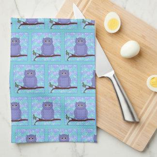 Lila Eulen-Küchen-Tuch Handtuch