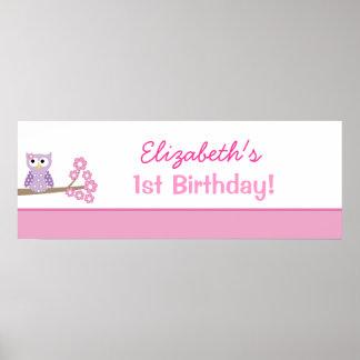 Lila Eulen-kundenspezifischer Geburtstags-Fahnen-P Plakatdruck