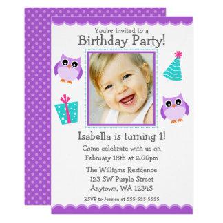 Lila Eulen-Party-1. Geburtstags-Mädchen-Foto Karte