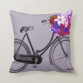 lila Fahrrad-Blume Throwkissen Kissen