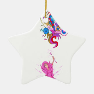 Lila Fee und Feder Keramik Ornament