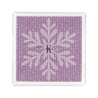 Lila Feiertags-Schneeflocke-Monogramm-Behälter Acryl Tablett