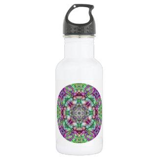 Lila Flieder und grünes rundes Mandala-Kaleidoskop Edelstahlflasche