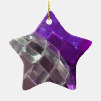 Lila Flitterdetail-Sternverzierung Keramik Ornament