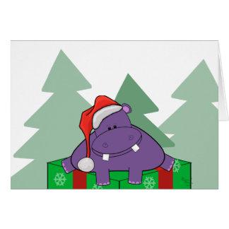Lila Flusspferd-Weihnachtskarte Karte